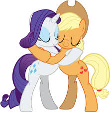 Image result for rarity and applejack kiss