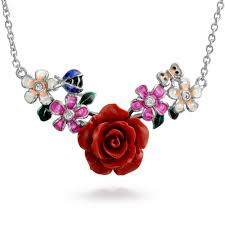 carved red rose colorful flower bouquet station pendant for women necklace for mother 925 sterling silver