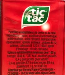 tic tac mixers bonbons cerise cola 110 pastilles 54 g nutrition facts