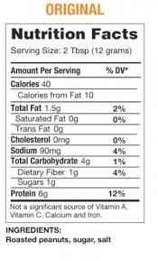 pb2 powdered peanut er nutrition panel