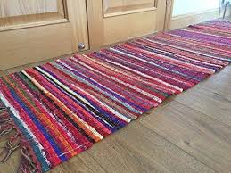 second nature stunning silver thread multi colour flat weave rag rug runner
