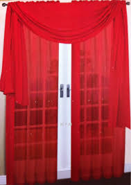 Amazon.com: 3 Piece Red Sheer Voile Curtain Panel Set: 2 Red Panels and 1  Scarf: Home & Kitchen