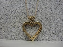 14kt yellow gold diamond heart pendant necklace