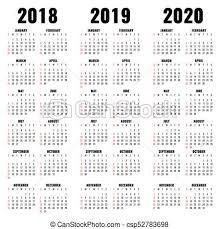 Anni Vettore 2020 Sagoma 2019 Calendario 2018 Sagoma Mensile