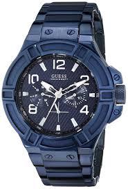 guess men s u0218g4 rigor iconic blue plated multi function watch guess mens watch u0218g4