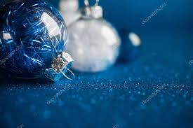 dark blue christmas background. Plain Dark White And Blue Christmas Ornaments On Dark Glitter Background With  Space For Text Merry In Dark Blue Christmas Background O
