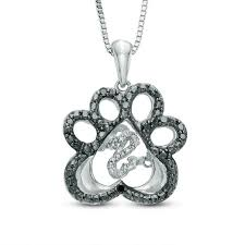 open hearts by jane seymour enhanced black and white diamond accent paw pendant in sterling