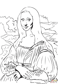 Contemporary Mona Lisa Coloring Page Printable For Amusing