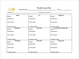 Weekly Lesson Plan Templates Weekly Lesson Plan Template 8 Free Word Excel Pdf Format