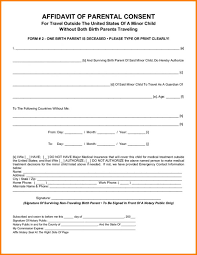 child travel with one parent consent form parental consent form template business