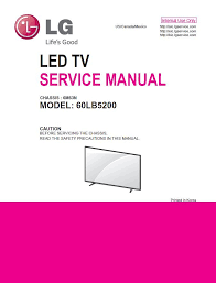 lg 60lb5200 led tv service manual schematics lg television service safety precautions specifications adjustment instructions exploded parts view disassembly instructions schematic circuit diagrams