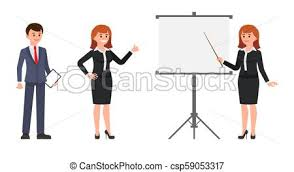 Man And Woman Office Workers Making Report On Flip Chart
