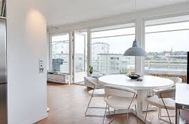 modern dining room ideas with round table and contemporary pendant lamp