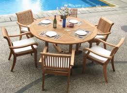 7 piece teak circular dining set