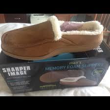 Bnib Sharper Image Mens Memory Foam Slippers 9 10