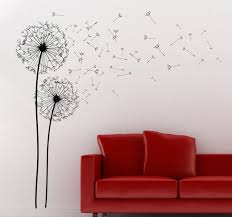two dandelions wall art decal beautiful silhouette wall decal of two dandelions blowing