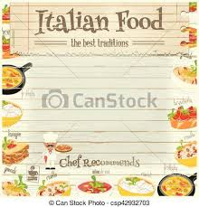 italian menu background. Delighful Italian Italian Food Menu Card With Traditional Meal On White Wooden Background  Chef Italian Cuisine Place For Text Vector Illustration With Menu Background S