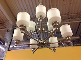 brushed nickel 9 light chandelier frosted glass