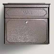 mail boss townhouse locking wall mount mailbox with high security patented lock bronze