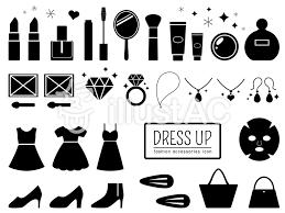 化粧品とお洒落小物のシルエットのセットイラスト No 1213150無料