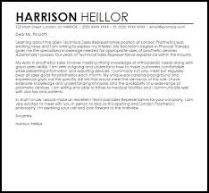 Sales Position Cover Letter Sample Technical Sales Representative Cover Letter Sample Cover Letter