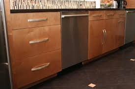 modern cabinet door style. These Lower Kitchen Cabinets In Maple Feature Slab Front Cabinet Doors And Drawers For A Sleek, Modern Design. Flat Dishwasher Stainless Steel Door Style