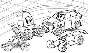 面白い車と塗り絵用車漫画文字グループの黒と白の漫画イラスト