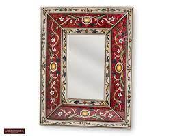 peruvian red decorative mirror arts