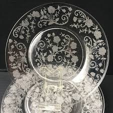 fostoria ercup fl etched lunch plates ercup pattern