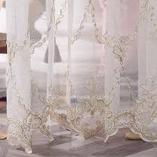 nice ideas embroidered sheer curtains stylish high quality gold pattern white curtain my