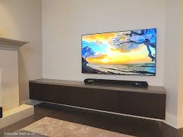 modern living room style with floating long media console cabinet