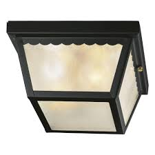 hampton bay 2 light matte black outdoor flushmount
