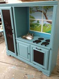 Play Kitchen From Old Furniture Transformed Old Entertainment Center Into Kids Kitchen Set We
