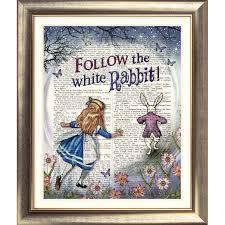 art print original antique book page vine alice in wonderland white rabbit ebay white rabbits