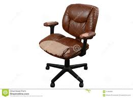 worn out brown leather office chair isolate background