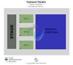 Orpheum Sf Seating Chart Orpheum Theatre Wi Seating Chart