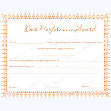 Best Performance Award Certificate Best Performance Award Certificate 01 Award Certificates
