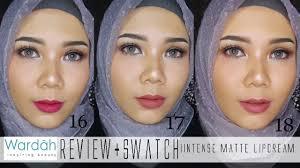swatches wardah exclusive matte lipcream no 16 17 18 bahasa