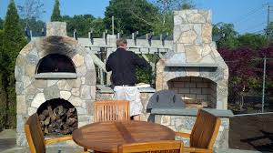 36 contractor series outdoor fireplace kit with amerigo oven with wood storage option