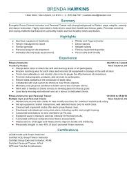 Certification Resume Sample Fitness And Personal Trainer Resume