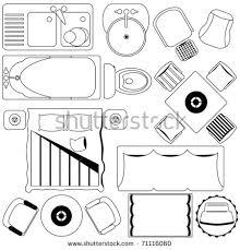 furniture clipart for floor plans. outline vector of simple furniture plan, floor plan as design elements. a set clipart for plans |