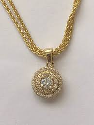 18k yellow gold chain necklace set 10 76 gr with 18k yellow gold 0 51 ct