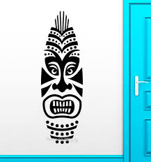 tiki mask wall sticker removable vinyl decal africa style design modern wall decals door hall sofa on tiki mask wall art with tiki mask wall sticker removable vinyl decal africa style design
