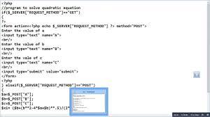 solving quadratic equation using php