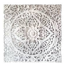 hand carved decorative panel white wall decor pier one