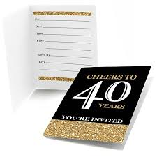 40th Birthday Invitations Adult 40th Birthday Gold Fill In Birthday Party Invitations 8 Count