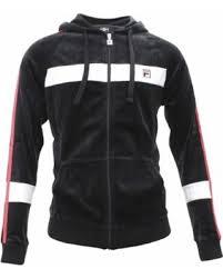 fila zip up jacket. fila men\u0027s velour slim fit black/cardinal red/white zip up hoody jacket sz s