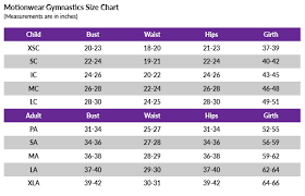 Gymnastics Leotard Size Chart Motionwear Size Chart Sizing How To Measure