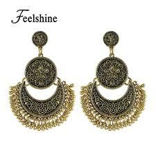 Retro Ethnischen Stil Kronleuchter Ohrringe Antik Gold