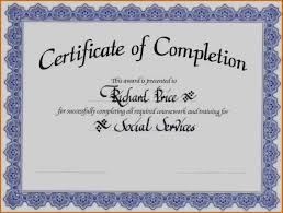 Unique Of Blank Certificate Completion Templates Free Sample - The ...